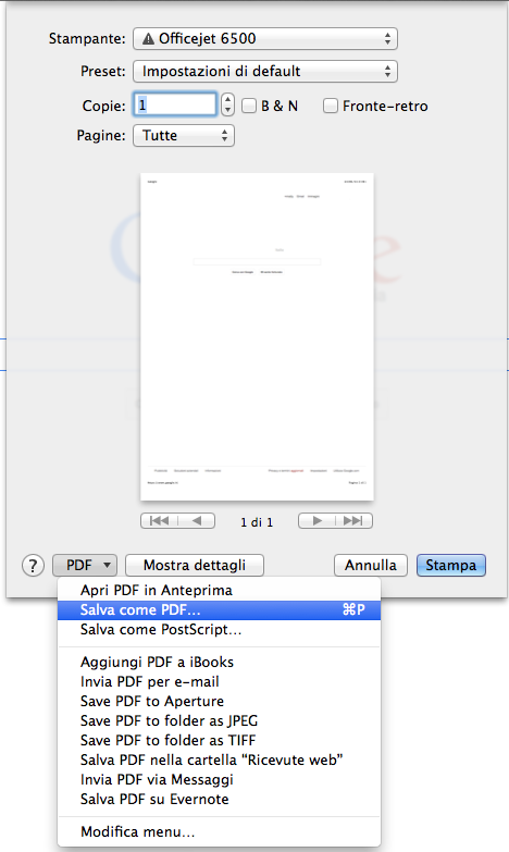 Salvare una pagina Web in PDF